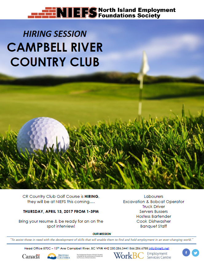 hiring event - cr golf  u0026 country club