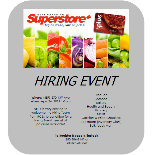 Hiring Session at NIEFS April 26 from 1 to 3pm for a variety of positions. Come ready with your resume and prepped for on the spot interviews.