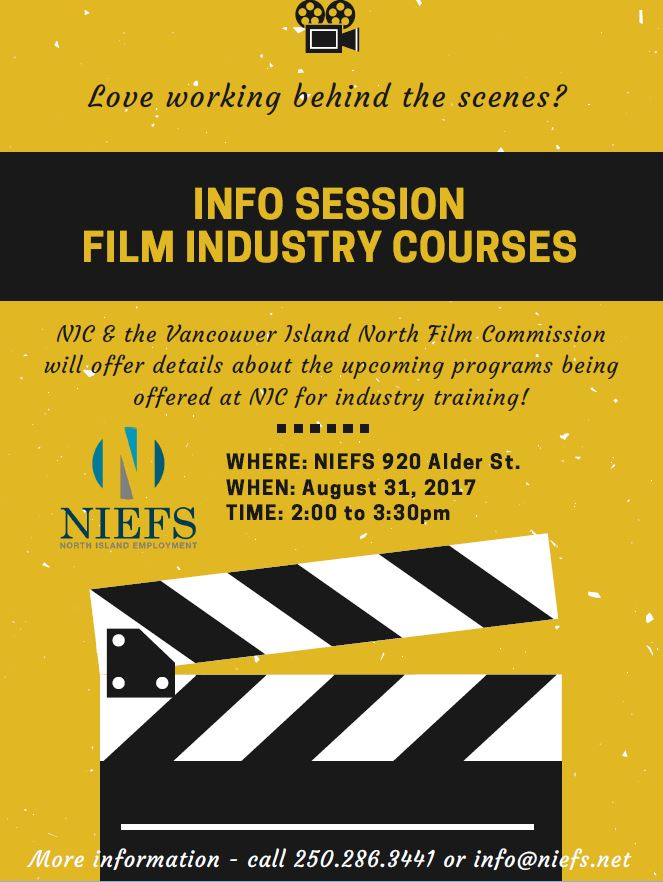 Information Session NIC and Vancouver Island North Film Commission Aug 31 2017 from 2 to 3:30pm