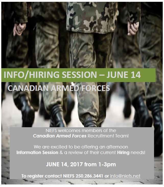 Information and Hiring Session at NIEFS June 14 2017 from 10am to 12noon