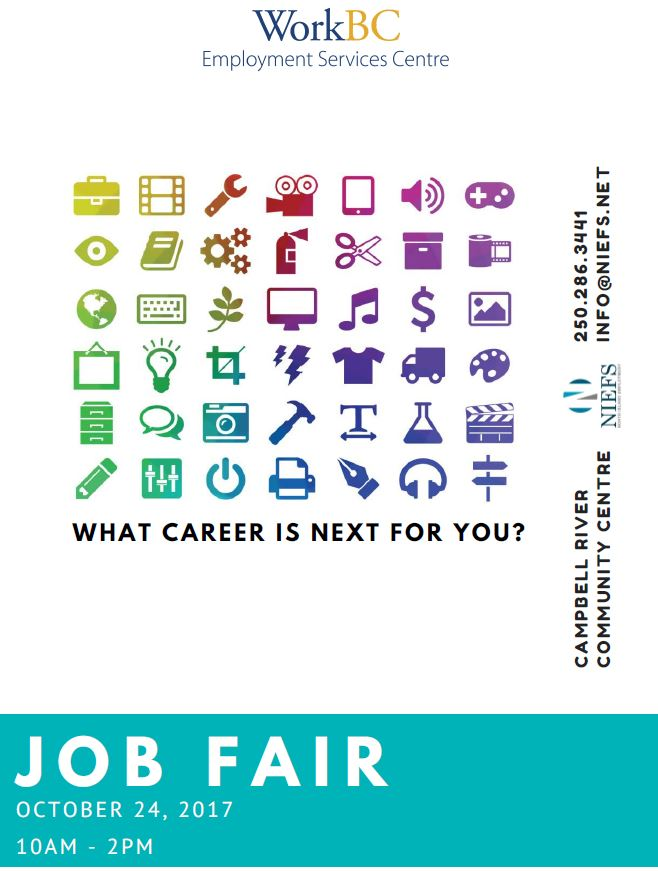 Job Fair Oct 24 2017 2 to 5pm hosted by NIEFS at the Community Centre